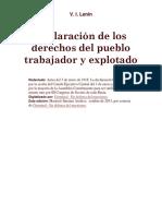 Declaración de Los Derechos Del Pueblo Trabajador y Explotado. LENIN