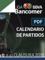 Calendario de partidos Liga MX Clausura 2018