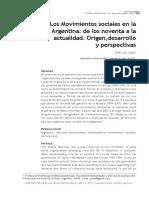Los Movimientos Sociales en La Argentina- De Los Noventa a La Actualidad. Origen,Desarrollo y Perspectivas