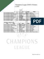 UEFA Champions League 2010/11 Fixtures - October 2010