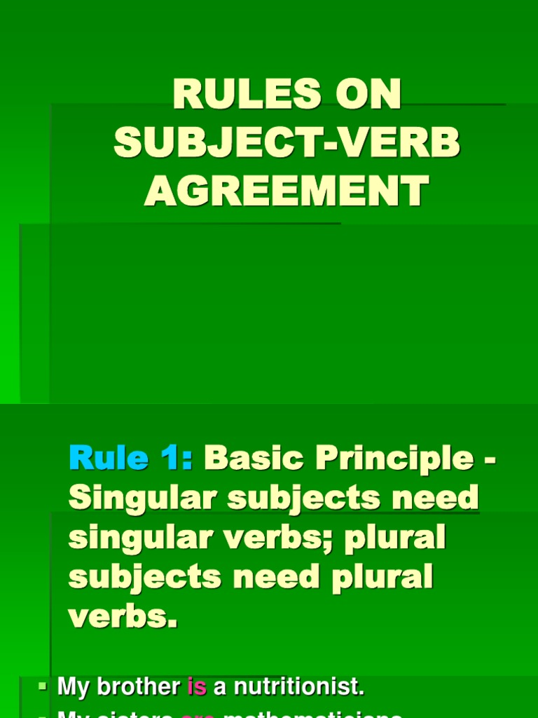 Rules On Subject Verb Agreement 5 Grammatical Number Plural