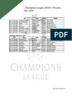 UEFA Champions League 2010/11 Fixtures - December 2010
