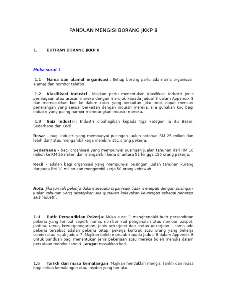 Panduan Mengisi Borang Jkkp 8