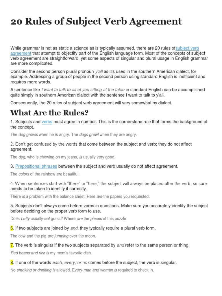 100 Rules Of Subject Verb Agreement Homework Writing Service