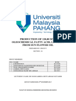 Production of 120000 MTA Oleochemical Fatty Acids From Sunflower Oils