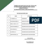 Daftar Nama Tim Penyusun Rkpd 2014