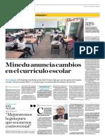 Minedu Anuncia Cambios en El Currículo Escolar