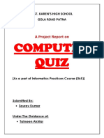 Informatics Practices Project - Computer Quiz Class XII
