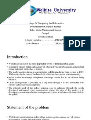 OOSE Crime management system pdf | Software Development