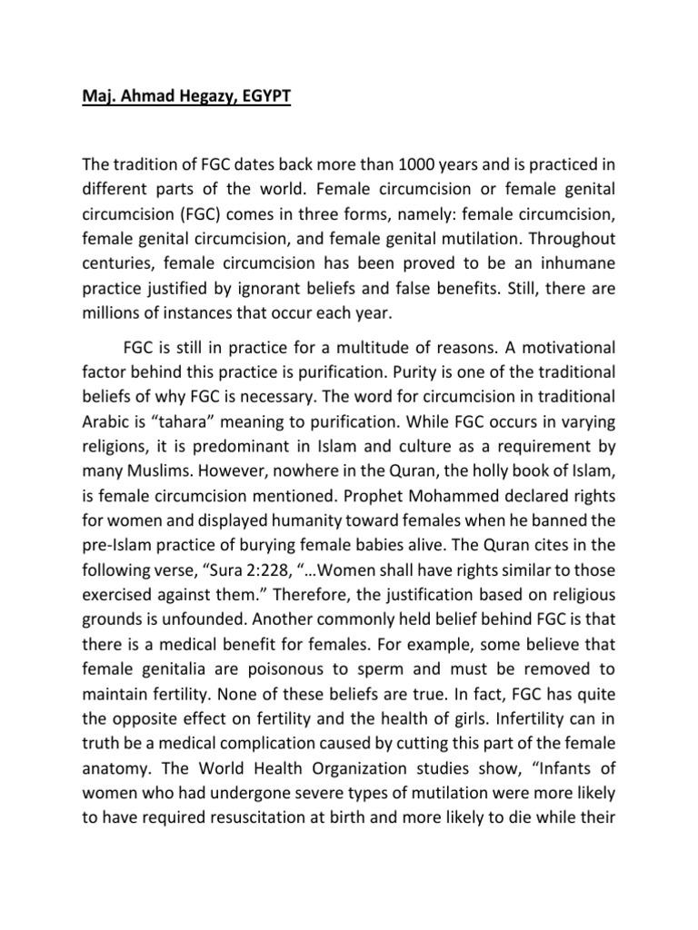 argumentative essay  female genital mutilation  circumcision v