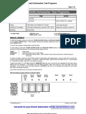 Bosch Dishwasher Multi-Model Test Programs | Dishwasher | Hvac