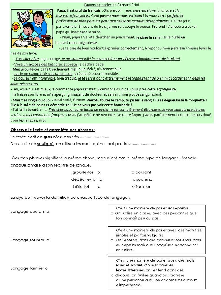 Registres De Langues Exercices Linguistique Communication Humaine