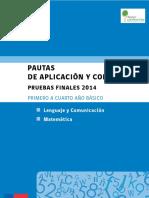 Lenguaje y Matemática Pautas Corrección Pruebas Finales 2014