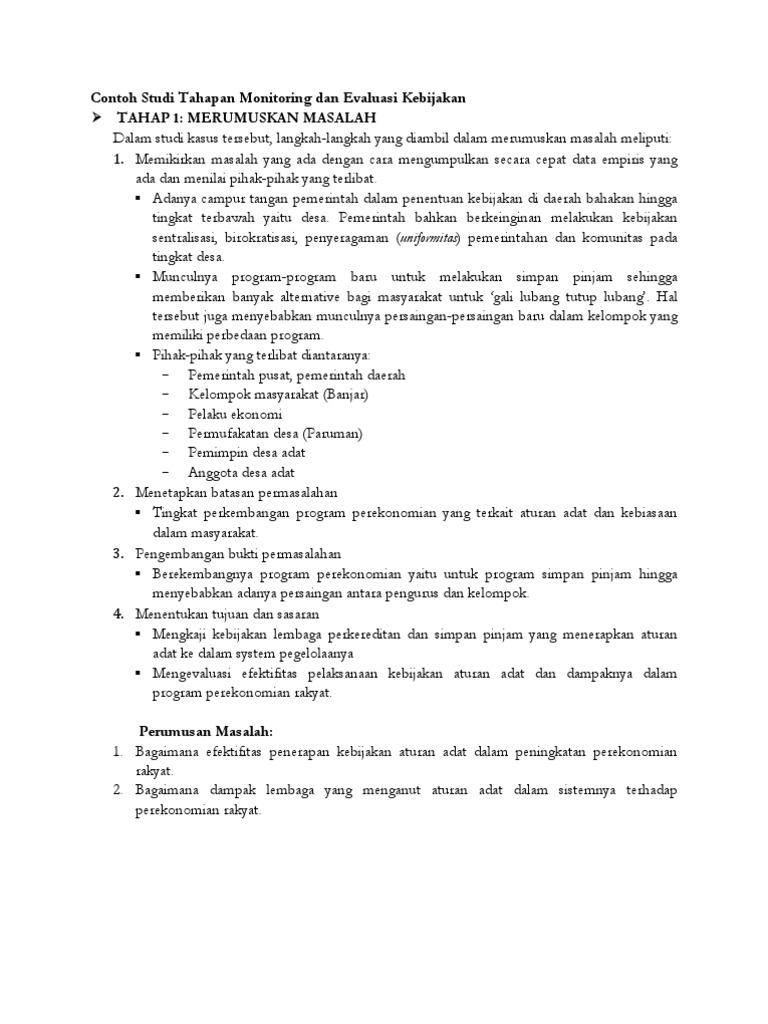 Contoh Tahapan Monitoring Dan Evaluasi Kebijakan