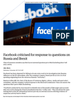 Facebook criticised for response to que...and Brexit | Technology | The Guardian