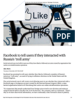 Facebook to tell users if they interact...roll army' | Technology | The Guardian