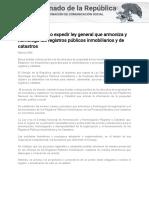 12-12-17 Aprueba Senado Expedir Ley General Que Armoniza y Homologa Los Registros Públicos Inmobiliarios y de Catastros