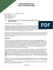 Letter from Lansing's Financial Health Team to Mayor Virg Bernero