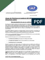 Documentación de Una No Conformidad ISO-IAF