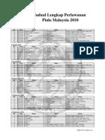 Jadual Lengkap Perlawanan Piala Malaysia 2010