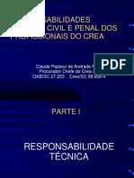 Palestra Claude - Responsabilidades Técnica, Civil e Criminal Dos Profissionais Nov 2016 - CREASC