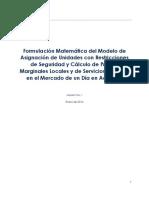 Formulación Matemática para el Modelo de Mercado eléctrico de un día en adelanto