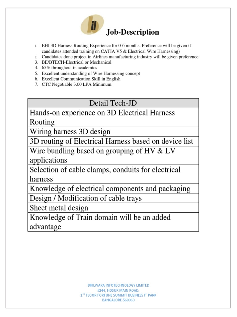 Job Description Of Wiring Harness Library Packaging Wire Electrical Harneshing Jd 0 6 Months
