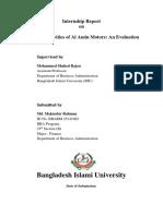 Financial Activities of Al Amin Motors an Evaluation