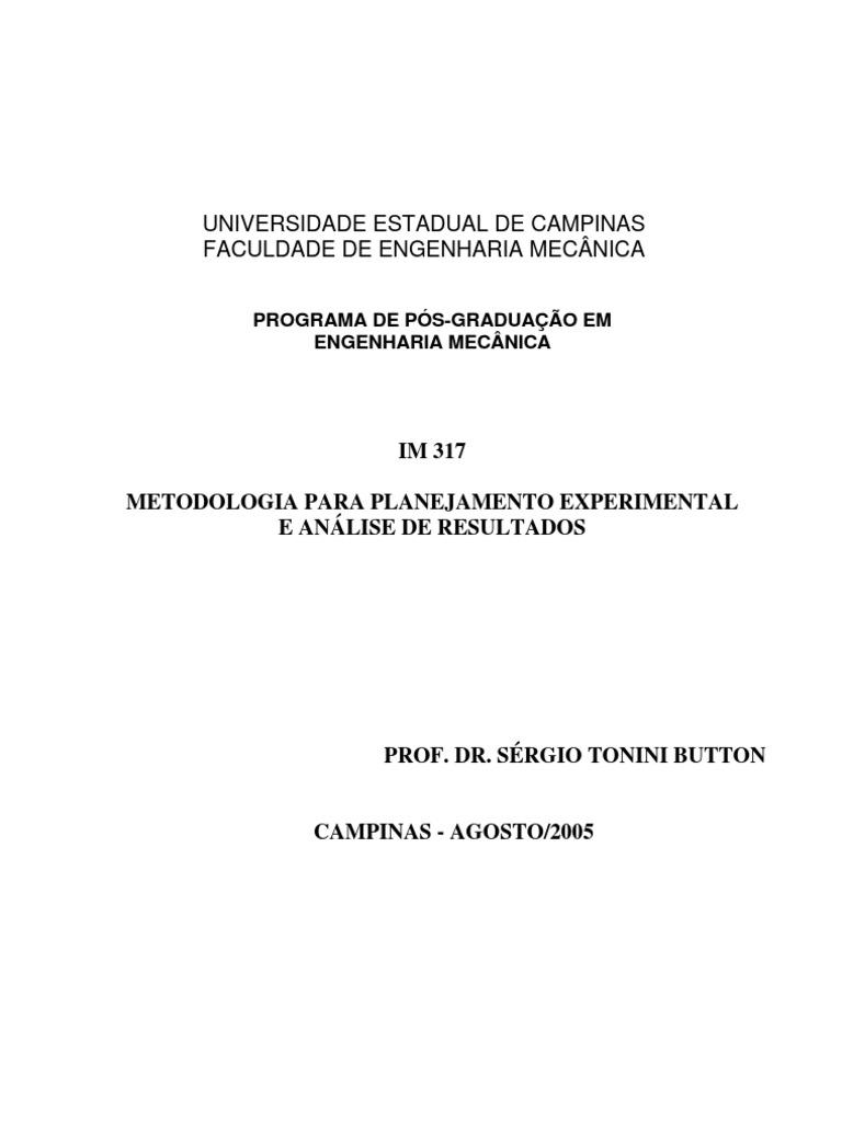 metodologia para planejamento experimental e análise de resultados