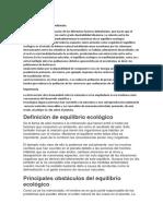 EQUILIBRIO ECOLÓGICODefinición
