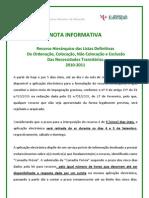 Nota Informativa - Recursos Hierárquicos