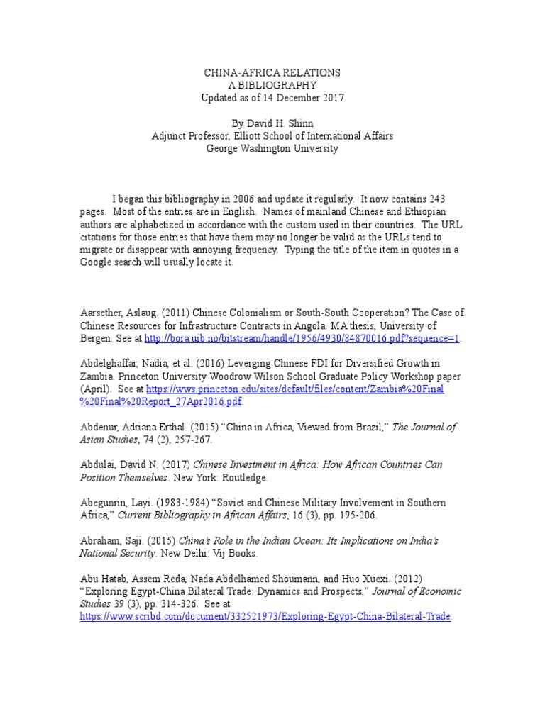 China And Africa Bibliography International Politics How To Wire Ethernet Cables Download As Powerpoint By Fjzhangweiqun
