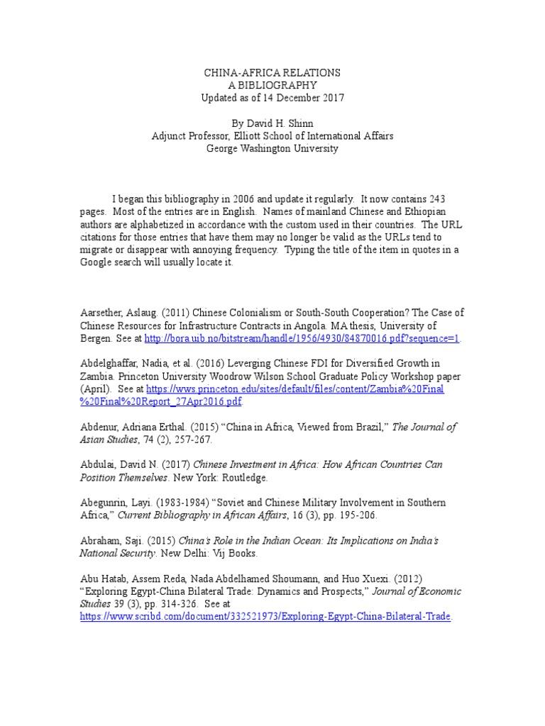 China and Africa - Bibliography | China | International Politics