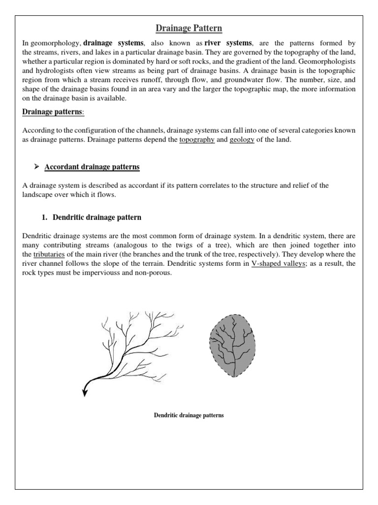 what is a dendritic drainage pattern