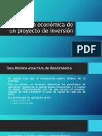 Evaluación Económica de Un Proyecto de Inversión