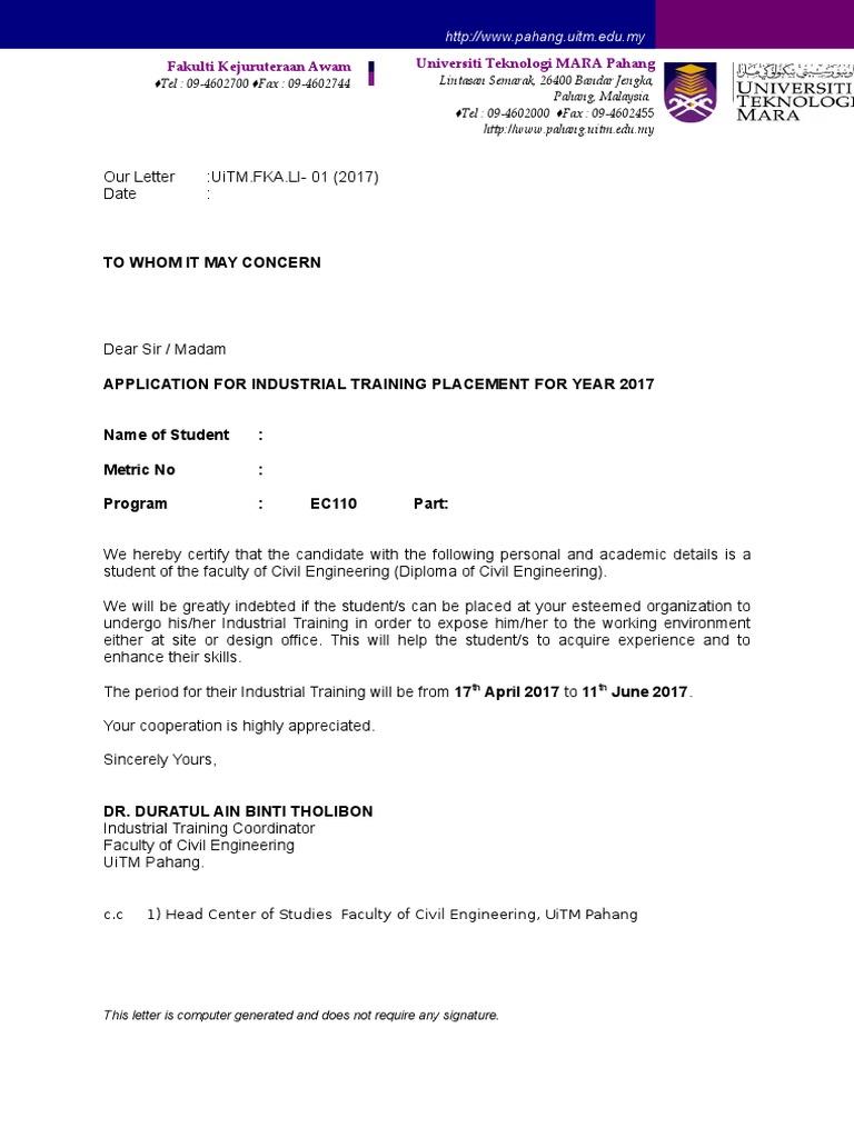 Surat Permohonan English Version 2017