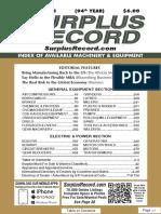 JANUARY 2018 Surplus Record Machinery & Equipment Directory