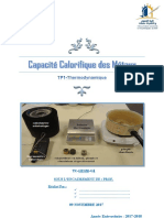 Capacité calorifique Thermodinamique FST
