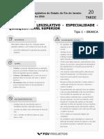 ALERJ 2016 Especialista Legislativo - Especialidade - Qualquer Nivel Superior (EL-QNS) Tipo 1