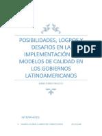 Posibilidades, Logros y Desafios en La Implementación de Modelos de Calidad en Los Gobiernos Latinoamericanos