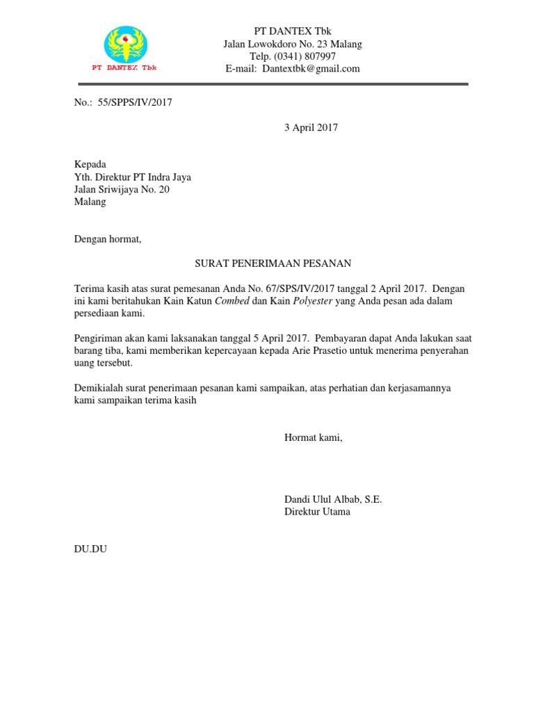 Surat Penerimaan Pesanan