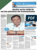 Gerente admite serio déficit en las plantas de tratamiento