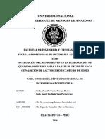 Evaluación Del Rendimiento en La Elaboración de Queso Maduro Tipo Paria a Partir de Leche de Vaca Con Adición de Lactosuero y Cloruro de Sodio