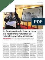 Exfuncionarios de Puno acusan a la fujimorista Aramayo de haberlos querido extorsionar