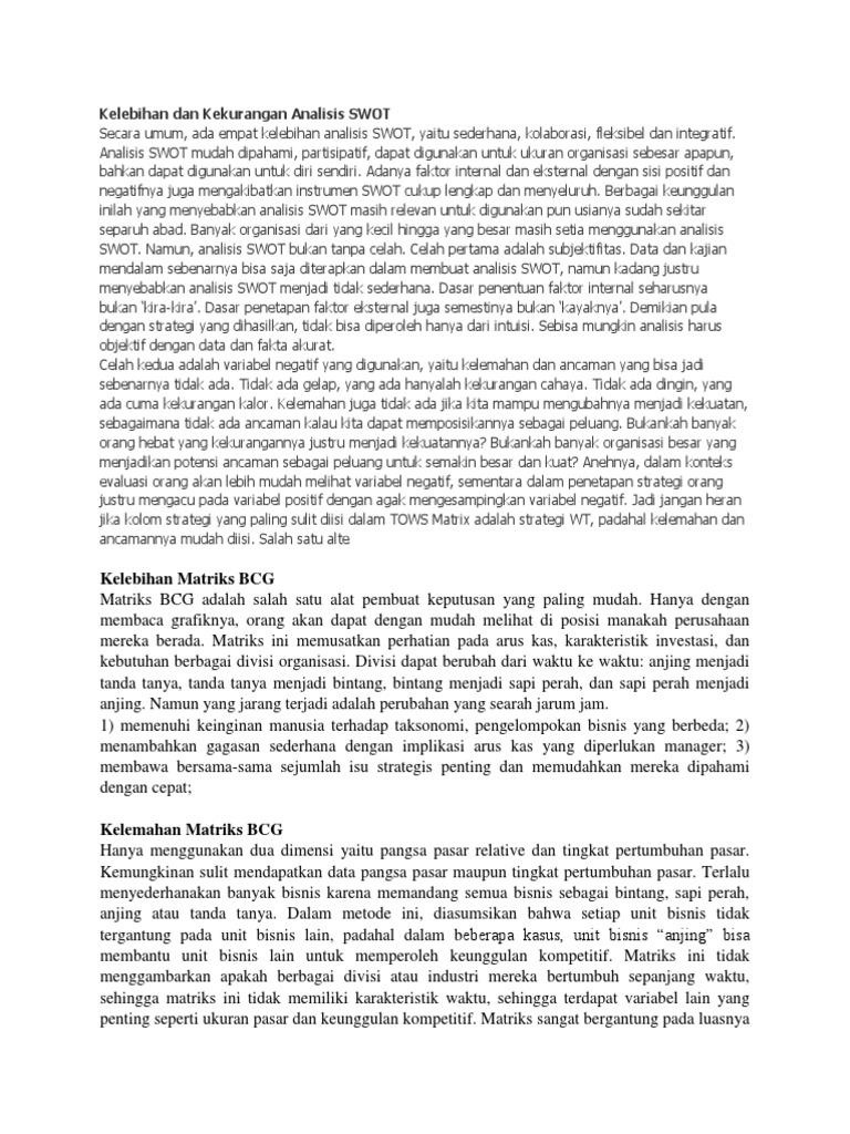 Kelebihan Dan Kekurangan Analisis SWOT