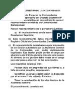 Requisitos Del Reconocimiento de Las Comunidades Campesinas