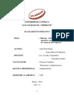 Informe Deplan Operativo Con Un Programa de Ventas de Una e..