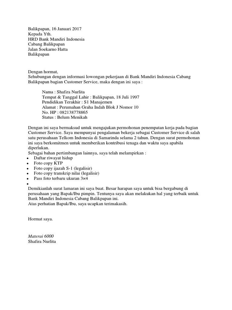Contoh Surat Lamaran Kerja Sebagai Customer Service Di Bank Berbagi Contoh Surat