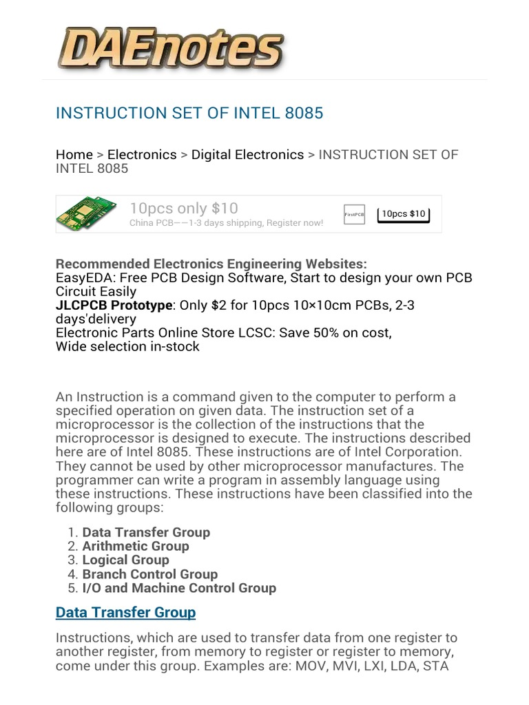 Instruction Set Of Intel 8085 Microprocessor 10 Free Pcb Design Software Central Processing Unit