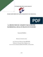 LA PROTECTION DU CONJOINT PAR LE RÉGIME MATRIMONIAL LÉGAL EN FRANCE ET EN RUSSIE